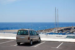 Car parked at the seafront parking Stock Photos