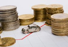 Car Parked Between Stacks Of Coins. Stock chart with stacks of euro coins ans small silver car Royalty Free Stock Photos