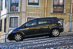 Car parked in the street of Lisbon old town Stock Photo