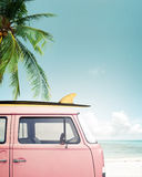 Car parked on the tropical beach Royalty Free Stock Images