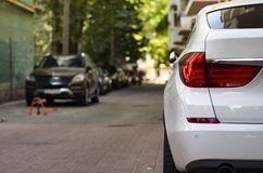 Car is parked in the yard Royalty Free Stock Photography
