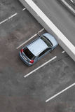 Car parking. Top view. One car and free space around royalty free stock photography