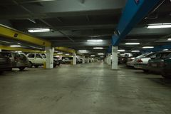 Car parking. Driving on vehicle traffic urban scene Stock Photography