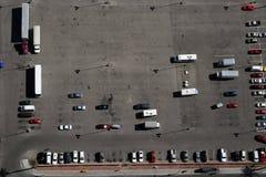 Car parking. Bird's eye view of a car parking lot Stock Image