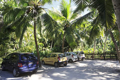 Car parking on the beach Anse Lazio Stock Photography