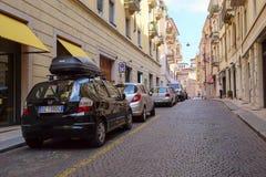 Car parking in a center of Verona Royalty Free Stock Photos