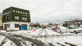 Car parking covered in snow Stock Image
