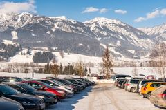 Car Parking at Hauser Kaibling, Haus im Ennstal. The one of Austria`s top ski resorts. Dachstein massif and Enns valley stock image