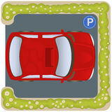 Car parking icon. Vector illustration of a square car parking icon, top view royalty free illustration