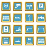 Car parking icons azure. Car parking icons set in azur color  vector illustration for web and any design Stock Image