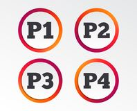 Car parking icons. First and second floor sign. Car parking icons. First, second, third and four floor signs. P1, P2, P3 and P4 symbols. Infographic design Stock Photos