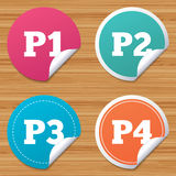 Car parking icons. First and second floor sign. Round stickers or website banners. Car parking icons. First, second, third and four floor signs. P1, P2, P3 and Stock Photos