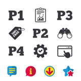Car parking icons. First and second floor sign. Car parking icons. First, second, third and four floor signs. P1, P2, P3 and P4 symbols. Browser window, Report Royalty Free Stock Photo