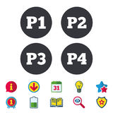 Car parking icons. First and second floor sign. Car parking icons. First, second, third and four floor signs. P1, P2, P3 and P4 symbols. Calendar, Information Royalty Free Stock Photos