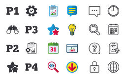 Car parking icons. First and second floor sign. Car parking icons. First, second, third and four floor signs. P1, P2, P3 and P4 symbols. Chat, Report and Royalty Free Stock Images