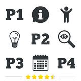 Car parking icons. First and second floor sign. Car parking icons. First, second, third and four floor signs. P1, P2, P3 and P4 symbols. Information, light bulb Royalty Free Stock Photography