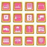 Car parking icons pink. Car parking icons set in pink color isolated vector illustration for web and any design Royalty Free Stock Photos