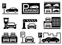 Car on parking icons Stock Photography