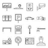 Car parking icons set, outline style. Car parking icons set in outline style isolated on white background Royalty Free Stock Photo