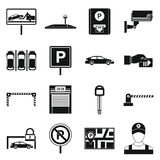 Car parking icons set, simple style Stock Image