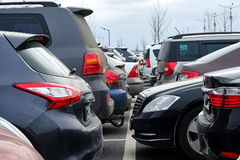 The car in the Parking lot. A lot of different cars in the Parking lot stock photography