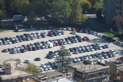 Car parking lot. MONTECASSINO, ITALY - CIRCA OCTOBER 2015: car parking lot almost full Royalty Free Stock Photography