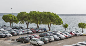 Car parking lot on the seafront Stock Image