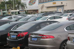 The Car parking lot in SHEKOU yard SHENZHEN Stock Photo