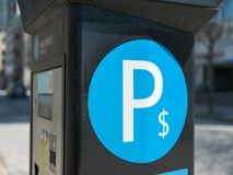 Car and parking machine with electronic payment stock image