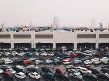 Car parking. Many cars park in carpark at thailand train Stock Photo