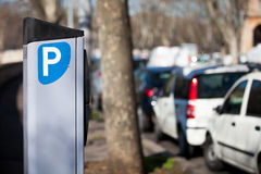 Car parking meter. Metered Rome, Italy. Royalty Free Stock Image