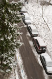 Car parking near the house in winter Stock Photography