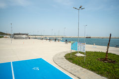Car parking on the new pier Sarafovo in Bourgas, Bulgaria Stock Images