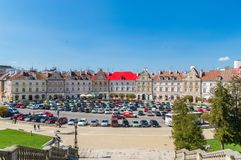 Car parking in Old Town of Lublin. stock photo