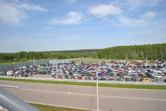 Car parking in races. Sportscar tuning Competitions on tuned cars in drift rds. Car parking in races championship races. Sportscar tuning Competitions on tuned Royalty Free Stock Images