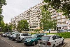 Car parking in a residential area of Bourgas, Bulgaria Stock Image