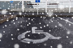 Car parking road sign for disabled outdoors Royalty Free Stock Image