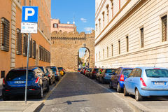 Car parking in Rome stock photo
