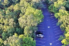 Car Parking seen from Hot Springs National Tower Stock Photo