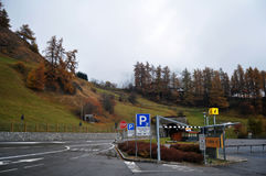 Car parking of Skiparadise Nauders in countryside at Bolzano or bozen at Italy. Car parking of Skiparadise Nauders in countryside at Trentino-Alto valley in royalty free stock images