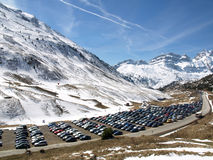 Car parking in a snow trail Royalty Free Stock Image