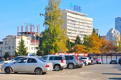 Car parking in Sochi, Russia royalty free stock images