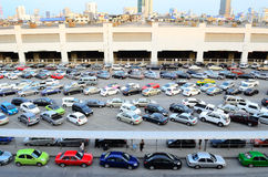 Car parking straight angle Stock Photo