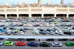 Car parking straight angle. Car parking free at BTS morchit bangkok thailand Stock Photo
