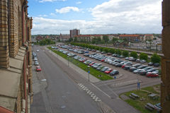 Car parking by the train station Royalty Free Stock Photo