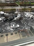 Car parking in Vejle city, Denmark. Top view of car parking. Auto parking lot. Design and decoration house car parking Royalty Free Stock Photography