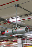 Car Parking Ventilation, Tunnel Jet Fan set up on the ceiling fo Stock Photography