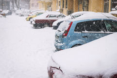 Car parking in winter Royalty Free Stock Images