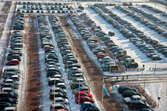 Car parking in wintertime Royalty Free Stock Image