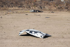 Car part blown away from car bomb training Royalty Free Stock Photography